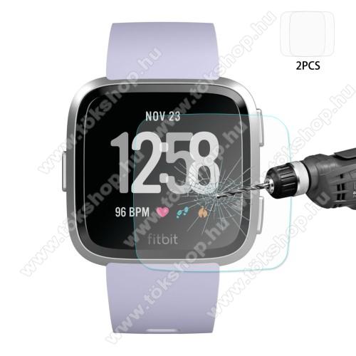 HAT PRINCE előlap védő karcálló edzett üveg - 2db - 0,2 mm vékony, 9H, 2.15D, A képernyő sík részét védi - Fitbit Versa