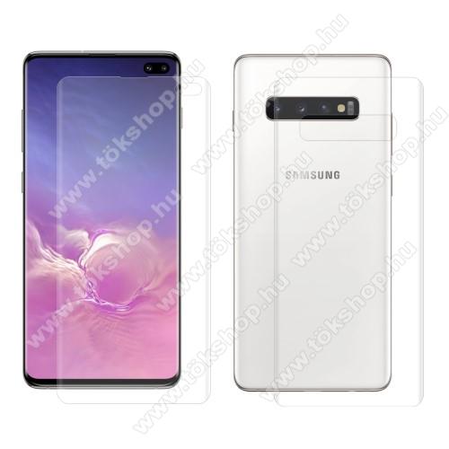 HAT PRINCE képernyővédő fólia - Ultra Clear, 0.1mm, TELJES KÉPERNYŐT VÉDI! - hátlapvédő fóliával! - SAMSUNG SM-G975F Galaxy S10+ - GYÁRI