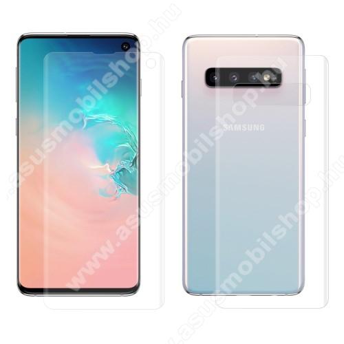 HAT PRINCE képernyővédő fólia - Ultra Clear, 0.1mm, TELJES KÉPERNYŐT VÉDI! - hátlapvédő fóliával! - SAMSUNG SM-G973F Galaxy S10 - GYÁRI