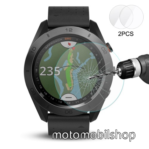 HAT PRINCE okosóra előlap védő karcálló edzett üveg - 2db - 0,2 mm vékony, 9H, 2.15D, A képernyő sík részét védi - Garmin Approach S60