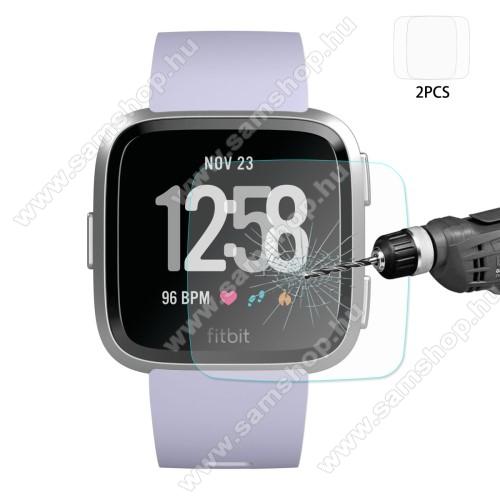 HAT PRINCE okosóra előlap védő karcálló edzett üveg - 2db - 0,2 mm vékony, 9H, 2.15D, A képernyő sík részét védi - Fitbit Versa / Fitbit Versa Lite