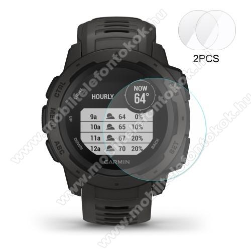 HAT PRINCE okosóra előlap védő karcálló edzett üveg - 2db - 0,2 mm vékony, 9H, 2.15D, A képernyő sík részét védi - Garmin Instinct