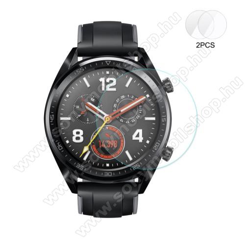 HAT PRINCE okosóra előlap védő karcálló edzett üveg - 2db - 0,2 mm vékony, 9H, 2.15D, A képernyő sík részét védi - HUAWEI Watch GT / HUAWEI Watch 2 Pro - GYÁRI