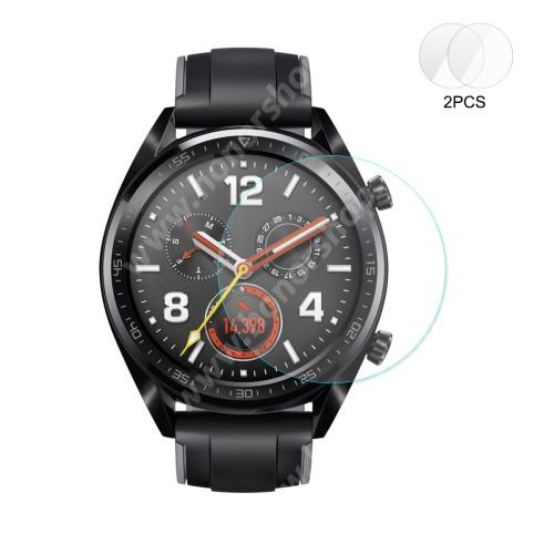 HUAWEI Watch GT 46mm HAT PRINCE okosóra előlap védő karcálló edzett üveg - 2db - 0,2 mm vékony, 9H, 2.15D, A képernyő sík részét védi - HUAWEI Watch GT / HUAWEI Watch 2 Pro - GYÁRI
