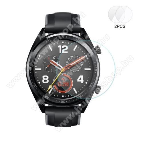 HUAWEI Watch 2 ProHAT PRINCE okosóra előlap védő karcálló edzett üveg - 2db - 0,2 mm vékony, 9H, 2.15D, A képernyő sík részét védi - HUAWEI Watch GT / HUAWEI Watch 2 Pro - GYÁRI