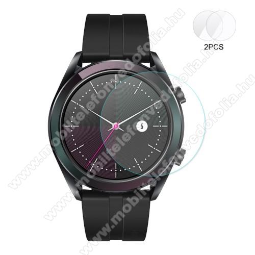 HAT PRINCE okosóra előlap védő karcálló edzett üveg - 2db - 0,2 mm vékony, 9H, 2.15D, A képernyő sík részét védi - HUAWEI Watch GT