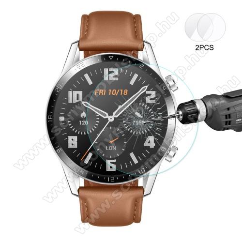 HAT PRINCE okosóra előlap védő karcálló edzett üveg - 2db - 0,2 mm vékony, 9H, 2.15D, A képernyő sík részét védi - HUAWEI Watch GT 2 46mm / HONOR Magicwatch 2 46mm