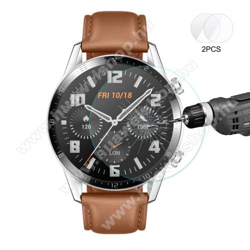 HAT PRINCE okosóra előlap védő karcálló edzett üveg - 2db - 0,2 mm vékony, 9H, 2.15D, A képernyő sík részét védi - HUAWEI Watch GT 2 46mm