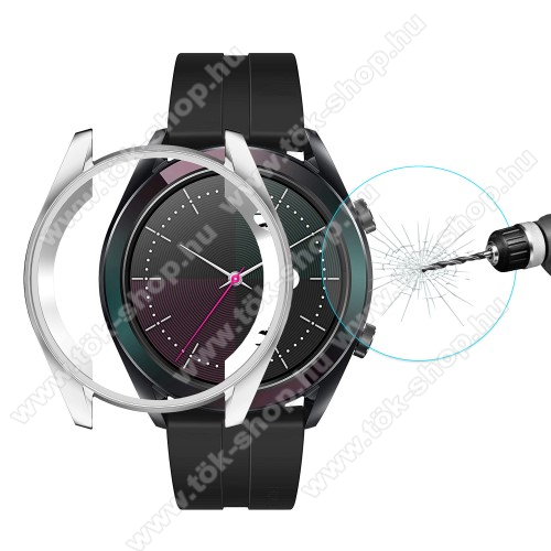 HAT PRINCE okosóra előlap védő karcálló edzett üveg + EZÜST szilikontok - 0.26mm, 9H, A képernyő sík részét védi - HUAWEI Watch GT 2 42mm