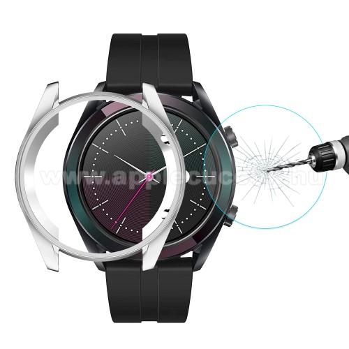 HAT PRINCE okosóra előlap védő karcálló edzett üveg + EZÜST szilikontok - 0.26mm, 9H, A képernyő sík részét védi - HUAWEI Watch GT Elegant 42mm