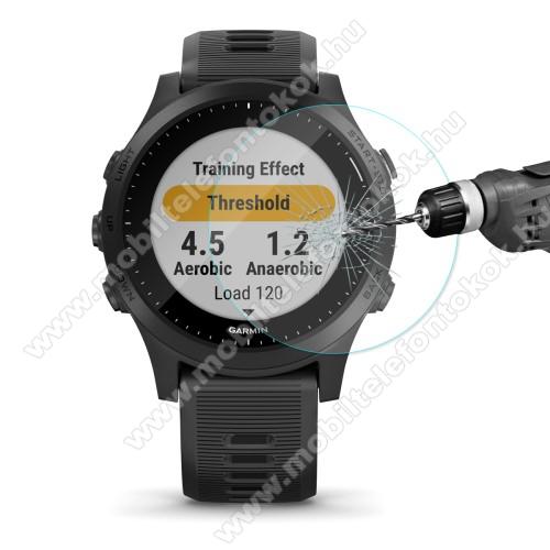 HAT PRINCE okosóra előlap védő karcálló edzett üveg - 1db - 0,2 mm vékony, 9H, 2.15D, A képernyő sík részét védi - Garmin Forerunner 945