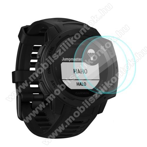 HAT PRINCE okosóra előlap védő karcálló edzett üveg - 2db - 0,2 mm vékony, 9H, 2.15D, A képernyő sík részét védi - Garmin Instinct / Instinct Tactical / Instinct Tide