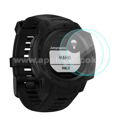 HAT PRINCE okosóra előlap védő karcálló edzett üveg - 2db - 0,2 mm vékony, 9H, 2.15D, A képernyő sík részét védi - Garmin Instinct / Instinct Solar / Instinct Tactical / Instinct Tide