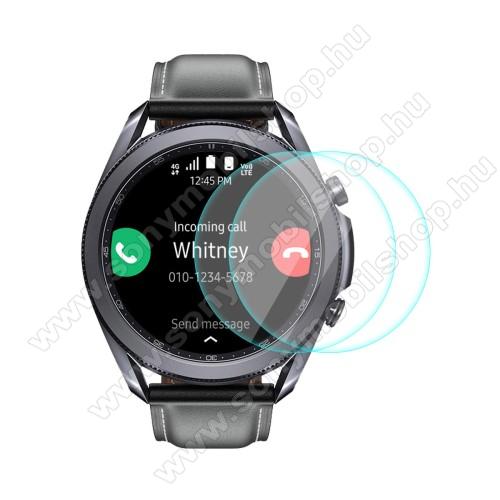 HAT PRINCE okosóra előlap védő karcálló edzett üveg - 2db - 0,2 mm vékony, 9H, 2.15D, A képernyő sík részét védi - SAMSUNG Galaxy Watch3 45mm (SM-R845F) - GYÁRI