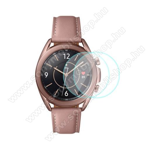 HAT PRINCE okosóra előlap védő karcálló edzett üveg - 2db - 0,2 mm vékony, 9H, 2.15D, A képernyő sík részét védi - SAMSUNG Galaxy Watch3 41mm (SM-R855F) - GYÁRI