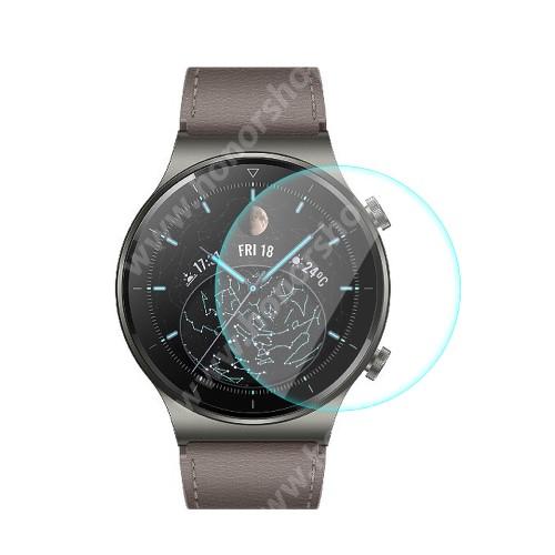 HUAWEI Watch GT 2 Pro 46mm HAT PRINCE okosóra előlap védő karcálló edzett üveg - 1db - 0,2 mm vékony, 9H, 2.15D, A képernyő sík részét védi - HUAWEI Watch GT 2 Pro