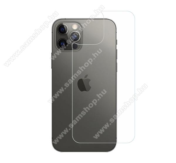 Hátlapvédő karcálló edzett üveg - 0,3 mm vékony, 9H, Arc Edge, A hátlap sík részét védi - APPLE iPhone 12 Pro Max