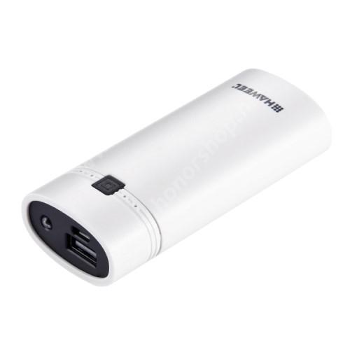 HUAWEI Honor V40 5G HAWEEL hordozható vésztöltő / Powerbankká alakítható tároló - 2db 18650 akkumulátorral működik (NEM TARTOZÉK!), 1x USB port, cserélhető, újratölthető, LCD kijelző, zseblámpa, 100 x 45 x 25mm - FEHÉR - GYÁRI