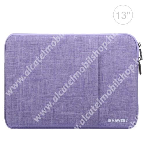 """HAWEEL Tablet / Laptop UNIVERZÁLIS tok / táska - LILA - Szövet, bársony belső, 2 különálló zsebbel, ütődésálló, vízálló - ERŐS VÉDELEM! - 11""""-os készülékekig használható, 300 x 205 x 20mm"""