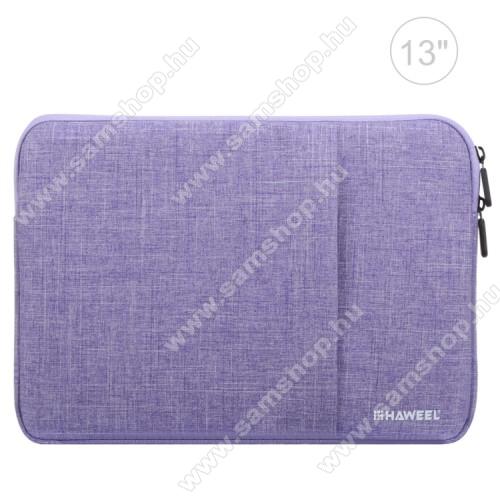 SAMSUNG Galaxy Tab 2 10.1 (P5100)HAWEEL Tablet / Laptop UNIVERZÁLIS tok / táska - LILA - Szövet, bársony belső, 2 különálló zsebbel, ütődésálló, vízálló - ERŐS VÉDELEM! - 11