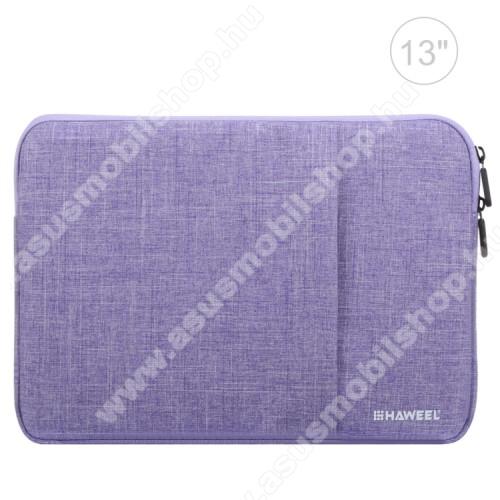 HAWEEL Tablet / Laptop UNIVERZÁLIS tok / táska - LILA - Szövet, bársony belső, 2 különálló zsebbel, ütődésálló, vízálló - ERŐS VÉDELEM! - 11