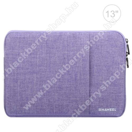 HAWEEL Tablet / Laptop UNIVERZÁLIS tok / táska - LILA - Szövet, bársony belső, 2 különálló zsebbel, ütődésálló, vízálló - ERŐS VÉDELEM! - 35 x 24cm