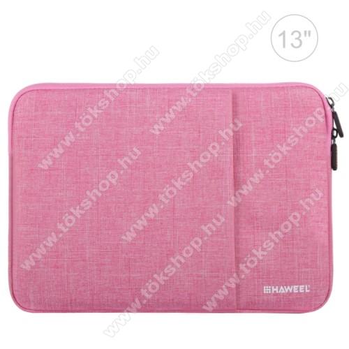 HAWEEL Tablet / Laptop UNIVERZÁLIS tok / táska - RÓZSASZÍN - Szövet, bársony belső, 2 különálló zsebbel, ütődésálló, vízálló - ERŐS VÉDELEM! - 11