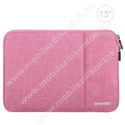 HAWEEL Tablet / Laptop UNIVERZÁLIS tok / táska - RÓZSASZÍN - Szövet, bársony belső, 2 különálló zsebbel, ütődésálló, vízálló - ERŐS VÉDELEM! - 35 x 24cm