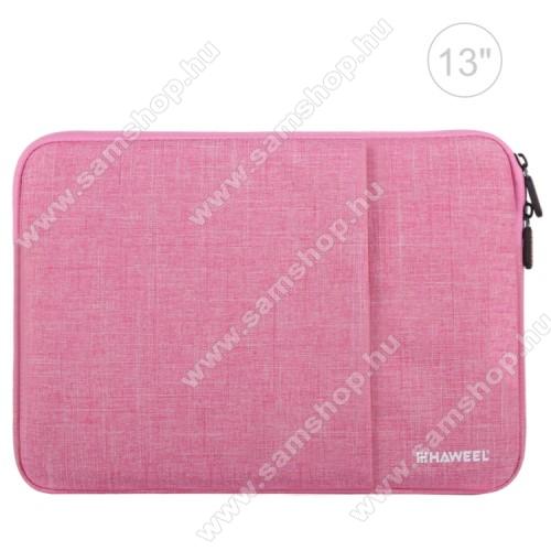 SAMSUNG P7100 Galaxy Tab 10.1vHAWEEL Tablet / Laptop UNIVERZÁLIS tok / táska - RÓZSASZÍN - Szövet, bársony belső, 2 különálló zsebbel, ütődésálló, vízálló - ERŐS VÉDELEM! - 35 x 24cm
