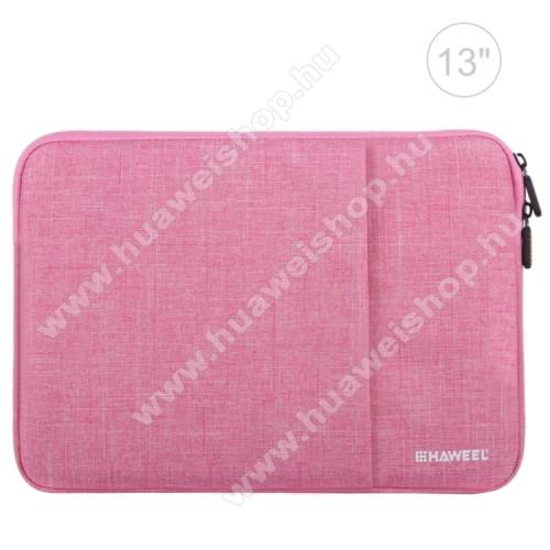 HUAWEI MediaPad 10 LinkHAWEEL Tablet / Laptop UNIVERZÁLIS tok / táska - RÓZSASZÍN - Szövet, bársony belső, 2 különálló zsebbel, ütődésálló, vízálló - ERŐS VÉDELEM! - 35 x 24cm