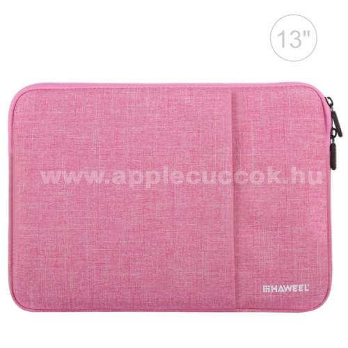 APPLE iPad 9.7 (2017) (5. GENERÁCIÓS)HAWEEL Tablet / Laptop UNIVERZÁLIS tok / táska - RÓZSASZÍN - Szövet, bársony belső, 2 különálló zsebbel, ütődésálló, vízálló - ERŐS VÉDELEM! - 35 x 24cm