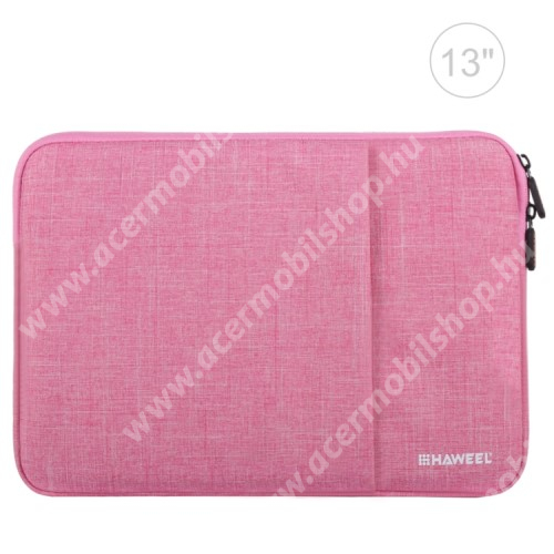 """ACER Iconia Tab A200 HAWEEL Tablet / Laptop UNIVERZÁLIS tok / táska - RÓZSASZÍN - Szövet, bársony belső, 2 különálló zsebbel, ütődésálló, vízálló - ERŐS VÉDELEM! - 11""""-os készülékekig használható, 300 x 205 x 20mm"""