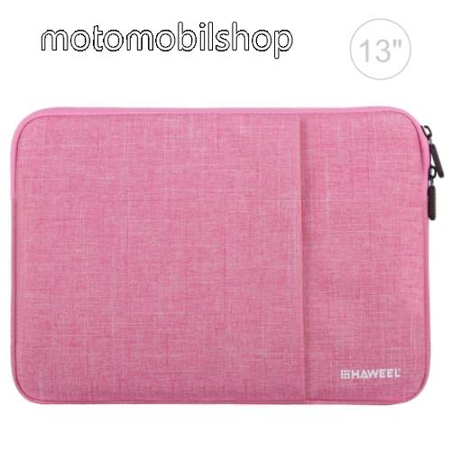 """HAWEEL Tablet / Laptop UNIVERZÁLIS tok / táska - RÓZSASZÍN - Szövet, bársony belső, 2 különálló zsebbel, ütődésálló, vízálló - ERŐS VÉDELEM! - 11""""-os készülékekig használható, 300 x 205 x 20mm"""