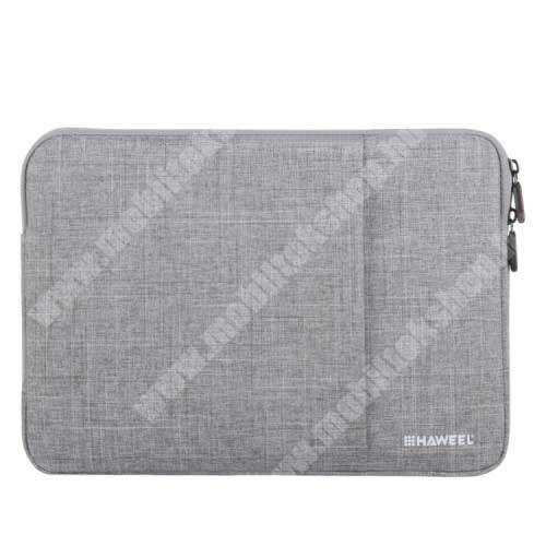"""HAWEEL Tablet / Laptop UNIVERZÁLIS tok / táska - SZÜRKE - Szövet, bársony belső, 2 különálló zsebbel, ütődésálló, vízálló - ERŐS VÉDELEM! - 11""""-os készülékekig használható, 300 x 205 x 20mm"""