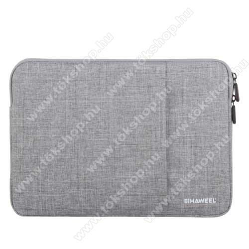 HAWEEL Tablet / Laptop UNIVERZÁLIS tok / táska - SZÜRKE - Szövet, bársony belső, 2 különálló zsebbel, ütődésálló, vízálló - ERŐS VÉDELEM! - 11