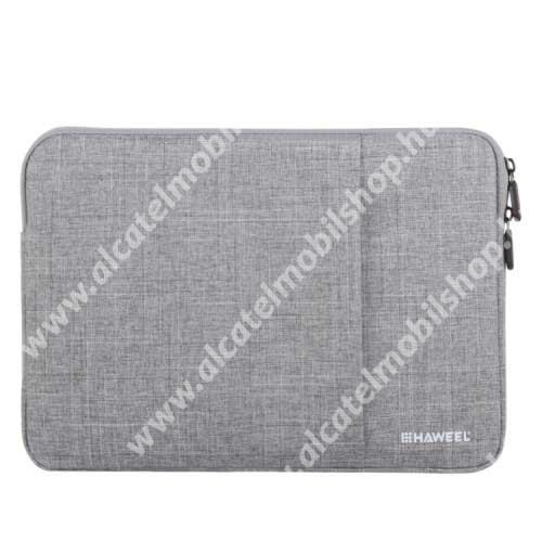 HAWEEL Tablet / Laptop UNIVERZÁLIS tok / táska - SZÜRKE - Szövet, bársony belső, 2 különálló zsebbel, ütődésálló, vízálló - ERŐS VÉDELEM! - 35 x 24cm
