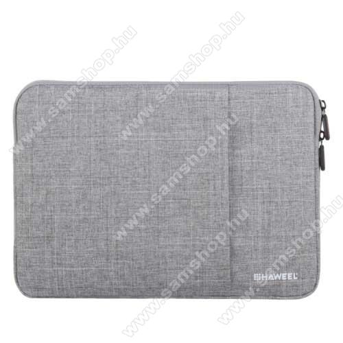SAMSUNG Galaxy Tab 2 10.1 (P5100)HAWEEL Tablet / Laptop UNIVERZÁLIS tok / táska - SZÜRKE - Szövet, bársony belső, 2 különálló zsebbel, ütődésálló, vízálló - ERŐS VÉDELEM! - 11
