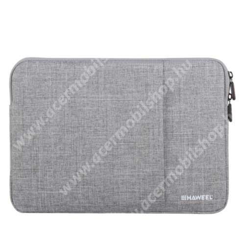 """ACER Iconia Tab A200 HAWEEL Tablet / Laptop UNIVERZÁLIS tok / táska - SZÜRKE - Szövet, bársony belső, 2 különálló zsebbel, ütődésálló, vízálló - ERŐS VÉDELEM! - 11""""-os készülékekig használható, 300 x 205 x 20mm"""