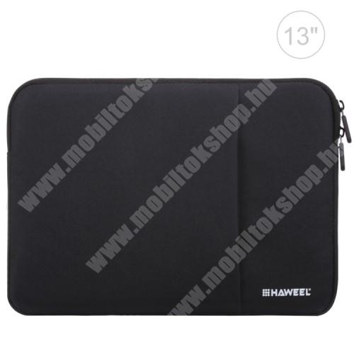 """HAWEEL Tablet / Laptop UNIVERZÁLIS tok / táska - FEKETE - Szövet, bársony belső, 2 különálló zsebbel, ütődésálló, vízálló - ERŐS VÉDELEM! - 11""""-os készülékekig használható, 300 x 205 x 20mm"""
