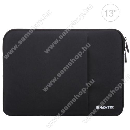 SAMSUNG Galaxy Tab 2 10.1 (P5100)HAWEEL Tablet / Laptop UNIVERZÁLIS tok / táska - FEKETE - Szövet, bársony belső, 2 különálló zsebbel, ütődésálló, vízálló - ERŐS VÉDELEM! - 11