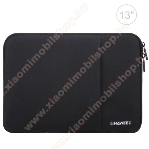 HAWEEL Tablet / Laptop UNIVERZÁLIS tok / táska - FEKETE - Szövet, bársony belső, 2 különálló zsebbel, ütődésálló, vízálló - ERŐS VÉDELEM! - 11