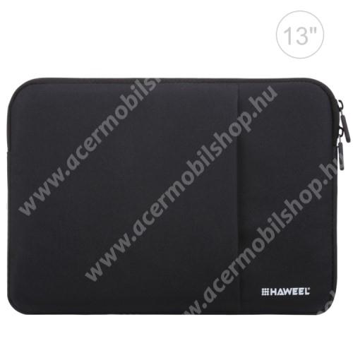 """ACER Iconia Tab A200 HAWEEL Tablet / Laptop UNIVERZÁLIS tok / táska - FEKETE - Szövet, bársony belső, 2 különálló zsebbel, ütődésálló, vízálló - ERŐS VÉDELEM! - 11""""-os készülékekig használható, 300 x 205 x 20mm"""