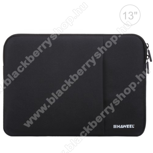 HAWEEL Tablet / Laptop UNIVERZÁLIS tok / táska - FEKETE - Szövet, bársony belső, 2 különálló zsebbel, ütődésálló, vízálló - ERŐS VÉDELEM! - 35 x 24cm