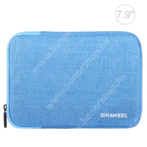 """HAWEEL Tablet / Laptop UNIVERZÁLIS tok / táska - KÉK - Szövet, bársony belső, 2 különálló zsebbel, ütődésálló, vízálló - ERŐS VÉDELEM! - 7,9""""-os készülékekig használható, 210 x 145 x 20 mm"""