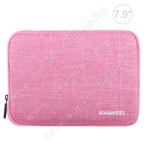 HAWEEL Tablet / Laptop UNIVERZÁLIS tok / táska - RÓZSASZÍN - Szövet, bársony belső, 2 különálló zsebbel, ütődésálló, vízálló - ERŐS VÉDELEM! - 7,9
