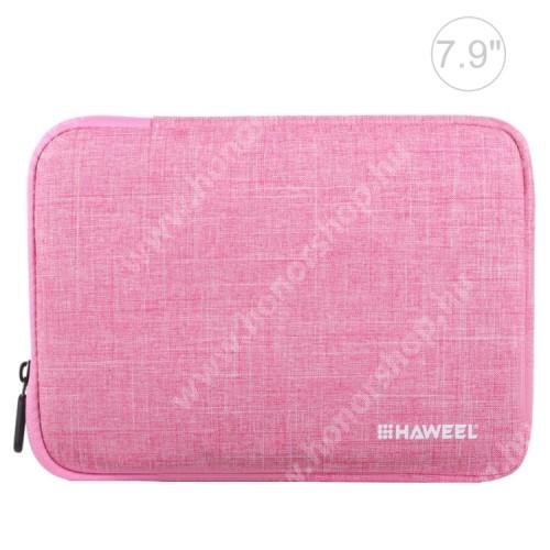 """HAWEEL Tablet / Laptop UNIVERZÁLIS tok / táska - RÓZSASZÍN - Szövet, bársony belső, 2 különálló zsebbel, ütődésálló, vízálló - ERŐS VÉDELEM! - 7,9""""-os készülékekig használható, 210 x 145 x 20 mm"""