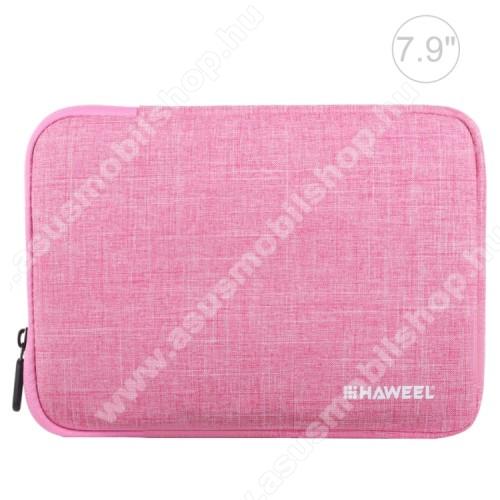 HAWEEL Tablet / Laptop UNIVERZÁLIS tok / táska - RÓZSASZÍN - Szövet, bársony belső, 2 különálló zsebbel, ütődésálló, vízálló - ERŐS VÉDELEM! - 21 x 14,5 x 2 cm