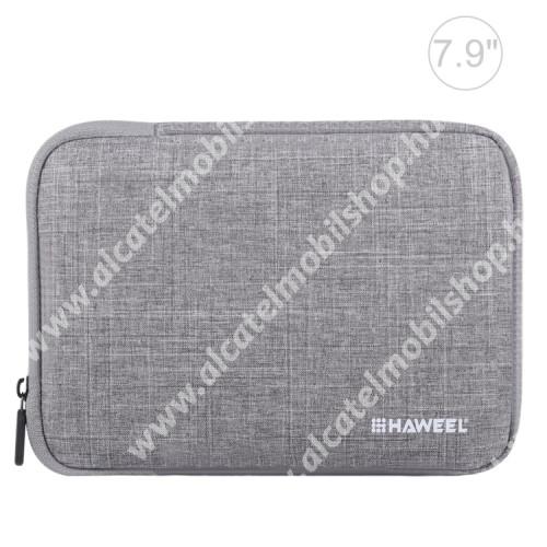 """HAWEEL Tablet / Laptop UNIVERZÁLIS tok / táska - SZÜRKE - Szövet, bársony belső, 2 különálló zsebbel, ütődésálló, vízálló - ERŐS VÉDELEM! - 7,9""""-os készülékekig használható, 210 x 145 x 20 mm"""