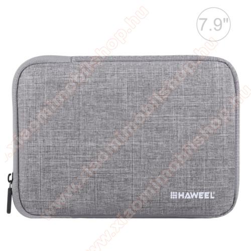 HAWEEL Tablet / Laptop UNIVERZÁLIS tok / táska - SZÜRKE - Szövet, bársony belső, 2 különálló zsebbel, ütődésálló, vízálló - ERŐS VÉDELEM! - 7,9