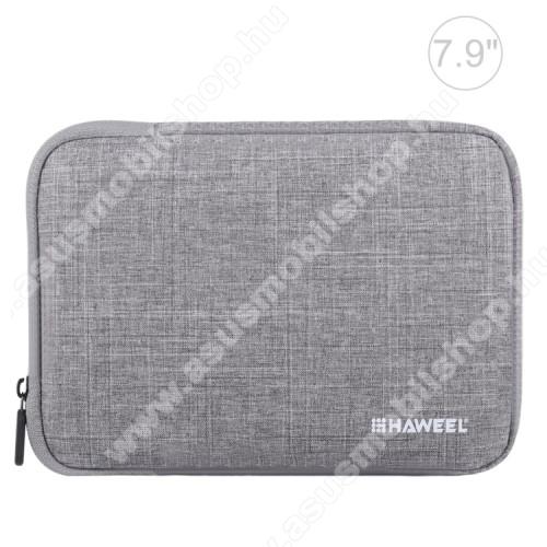 ASUS Fonepad 7 (2015) FE375CLHAWEEL Tablet / Laptop UNIVERZÁLIS tok / táska - SZÜRKE - Szövet, bársony belső, 2 különálló zsebbel, ütődésálló, vízálló - ERŐS VÉDELEM! - 7,9